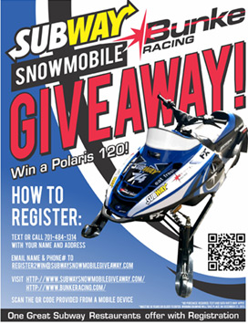 Register to win a Polaris 120 snowmobile
