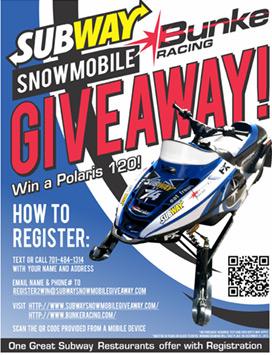 Register to win a Polaris 120 snowmobile